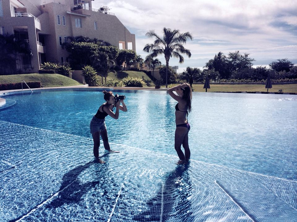 Behind the scenes moment in Punta Mita, Mexico